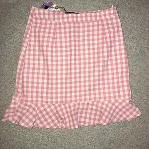 Mini pink and white gingham skirt